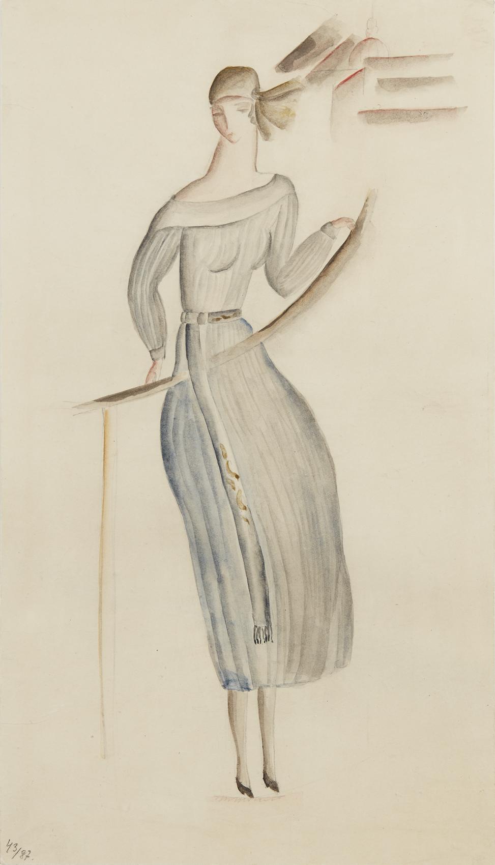 Siri Derkert   Blågrå klänning, stiliserad stadsvy i bakgrunden  1917-21 Watercolor 30 x 17 cm