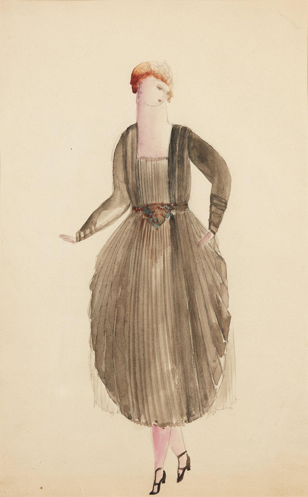 Siri Derkert   Svart plisserad klänning med snäckformad kjol  1917-21 Watercolor 32 x 22cm