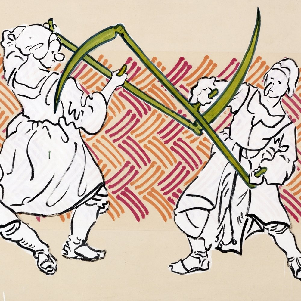Sigrid Holmwood_Peasants practising fighting with scythes.jpg