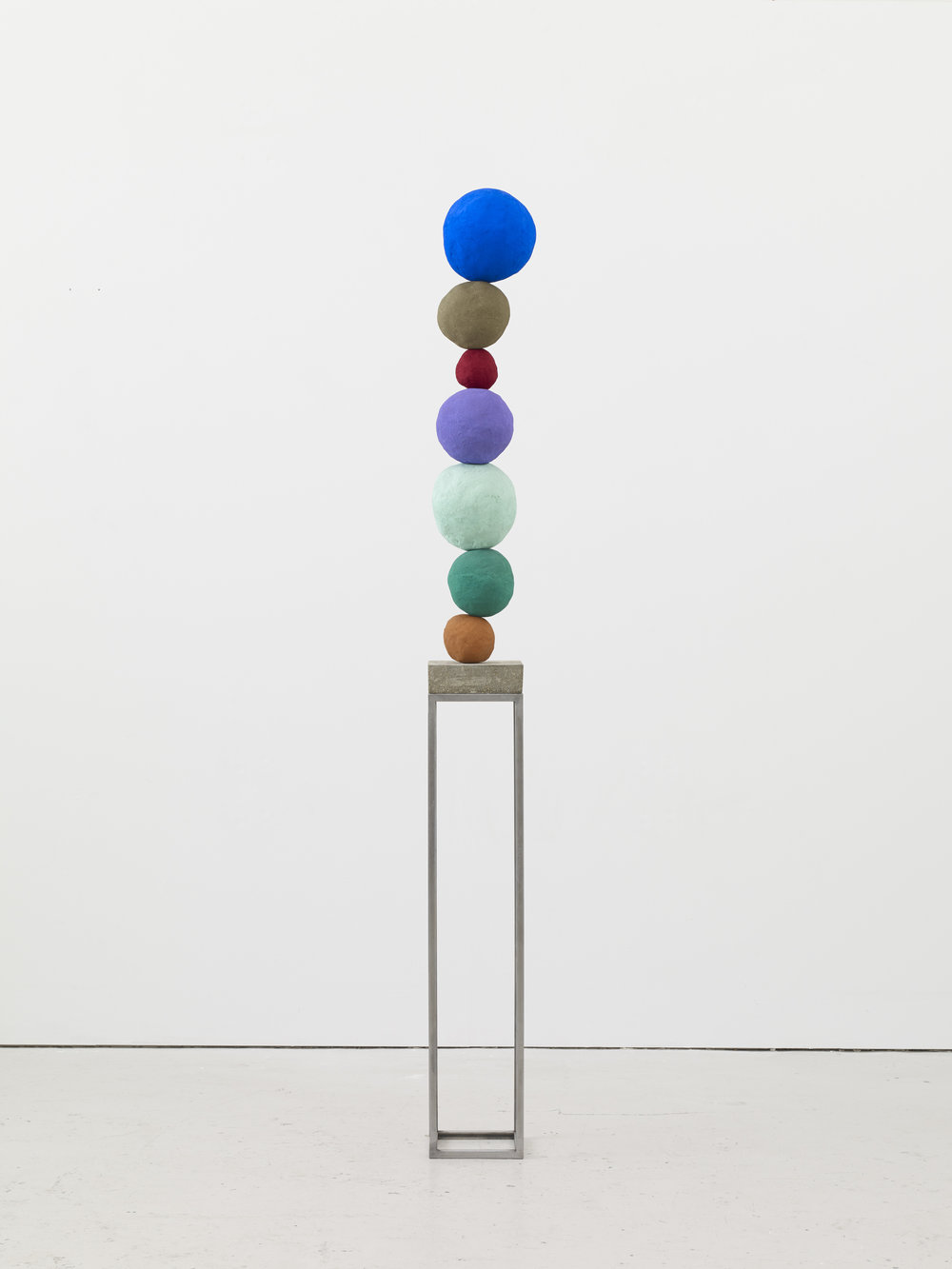 Annie Morris   Stack 7, Ultramarine Blue  2017 Foam core, pigment, metal, concrete, plaster and sand. Unique work 198 x 19,5 x 19,5 cm