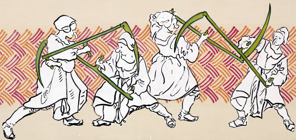 Sigrid Holmwood   Peasants practising fighting with scythes  2017 Mayan blue made from woad, weld, ink and gesso on calico mordant-printed with madder and cochineal, on board 110 x 230 cm