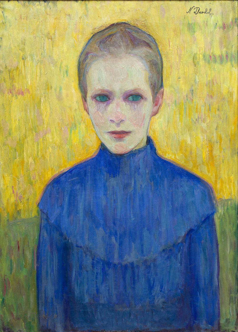 Nils Dardel   Flicka i blå klänning  1910 Oil on canvas 62 x 45 cm