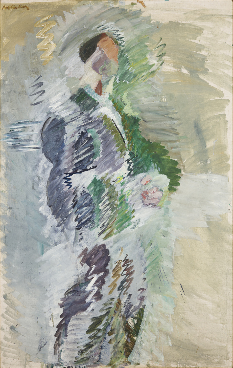 Alf Lindberg   Mansfigur II / Stående man  1955 Oil on canvas 138 x 88 cm