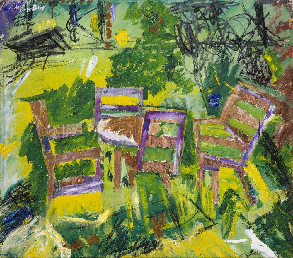 Alf Lindberg   Trädgårdsmöblerna  1987-88 Oil on canvas 92 x 104 cm