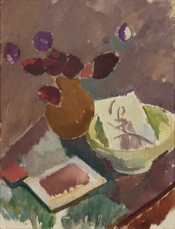 Karl Isakson   Stilleben med skål och vas  Oil on canvas 66 x 50 cm