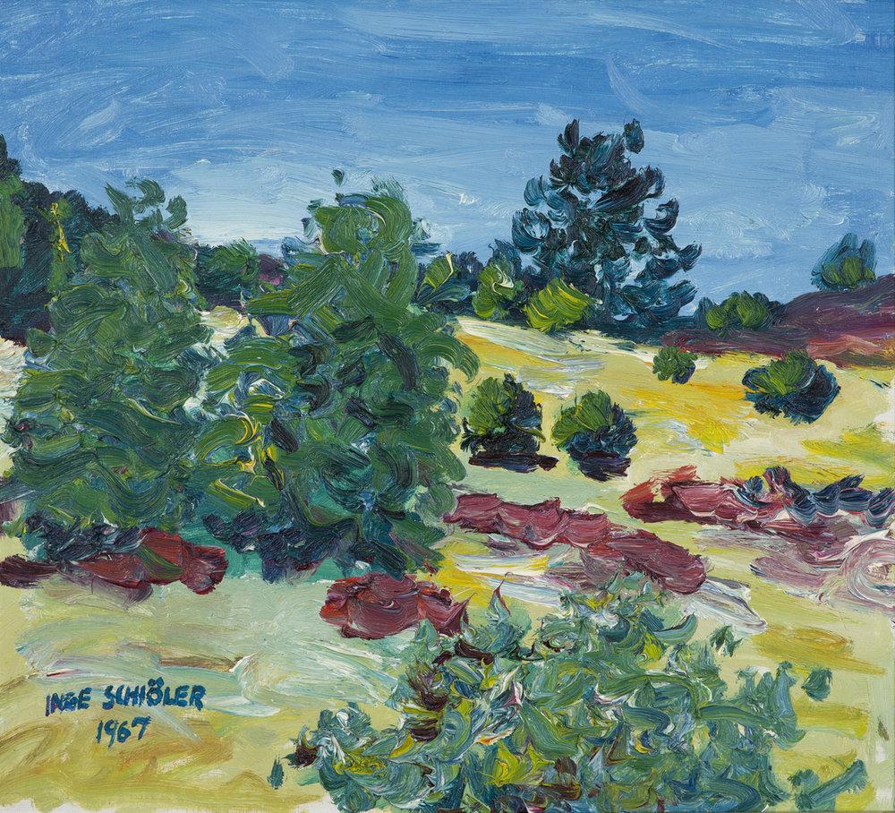 Inge Schiöler   Skogslandskap  1967 Oil on canvas 51 x 55,5 cm Hjorthén nr 878