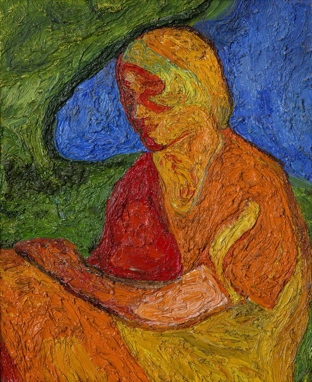 Evert Lundquist   Komposition (Röd kvinna)  1940 Oil on canvas 62 x 51 cm