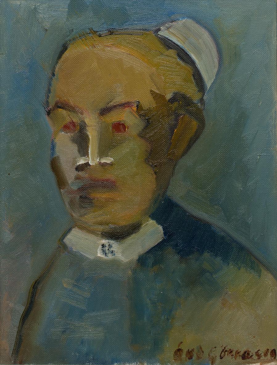 Åke Göransson   Sköterskan Lillhagen  1941-42 Oil on canvas 29 x 22,5 cm