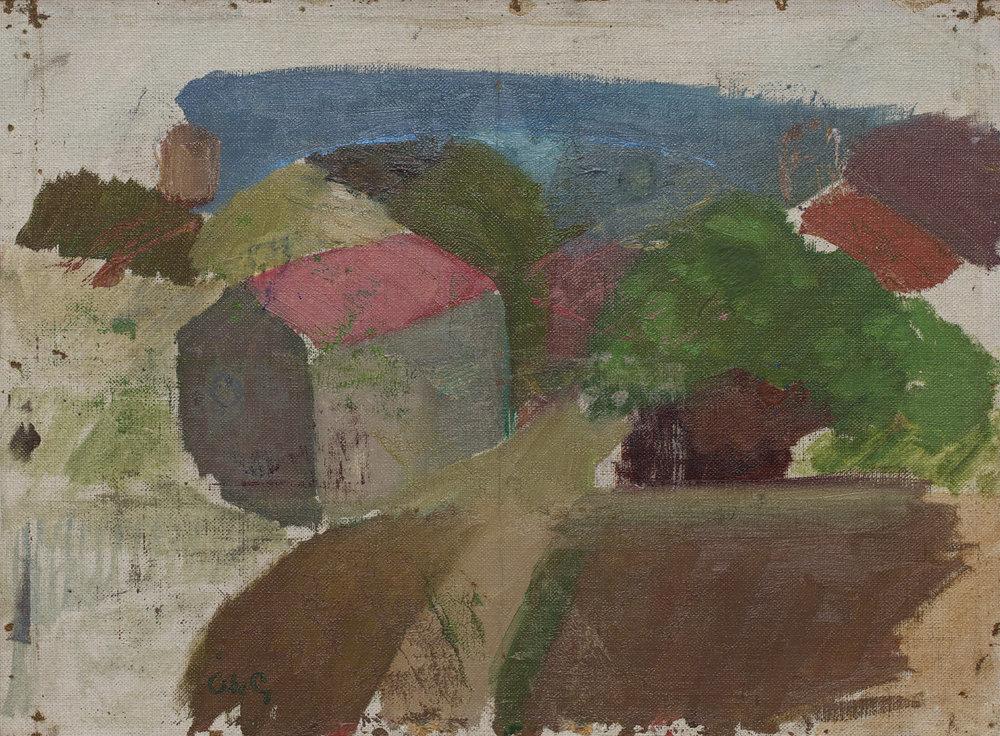 Åke Göransson   Hus i Landalabergen  1925/1927 Oil on canvas 28 x 38 cm