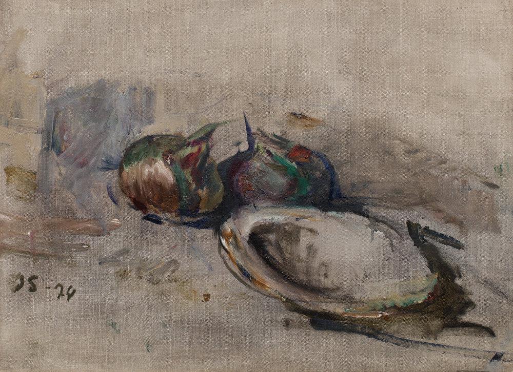 Olle Skagerfors   Två lökar  1974 Oil on canvas 44 x 58 cm