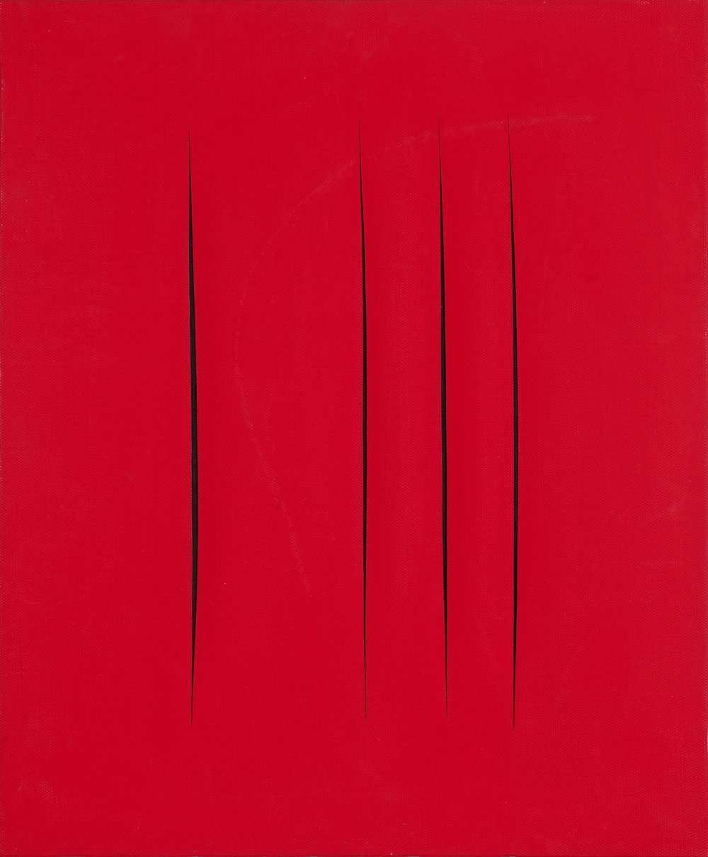 Lucio Fontana   Concetto Spaziale, Attese  1965-66 Watercolor on canvas 61 x 50 cm