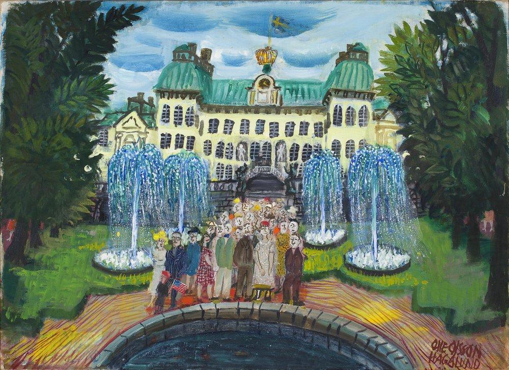 Olle Olsson-Hagalund   Drottningholms slottspark  1950-tal Signerad Olja på duk 53 x 74 cm