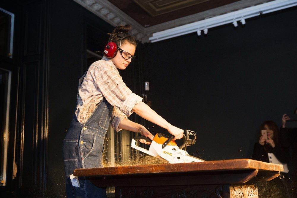 Performance night, Nov 30 at CFHILL, carpenter Moa Ott sawing Banca Rotta, by Goldin+Senneby
