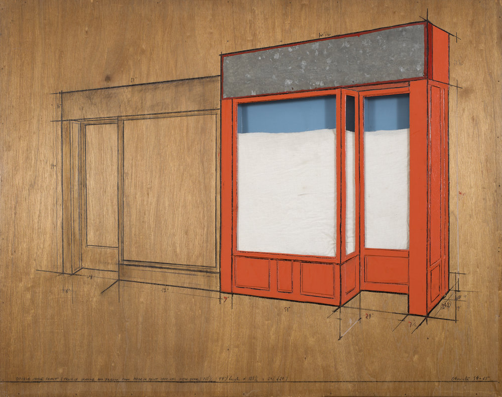 Christo and Jeanne-Claude   Store Front, Project   1964-65 Collage (pencil, wax, crayon, wood, Masonite, enamel-paint, fabric, plexiglass, galvanized metal, cardboard and electric light) 96 x 122 x 6 cm