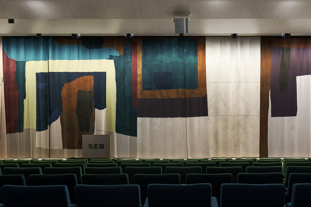 Jockum Nordström,Money in the bank.Curtain executed by Friends of Handicraft (Handarbetets vänner).