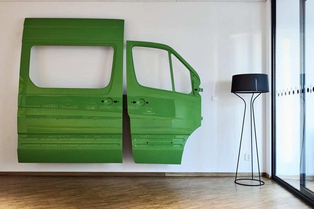 Yngve Holden,Platooning.Metal with car varnish.