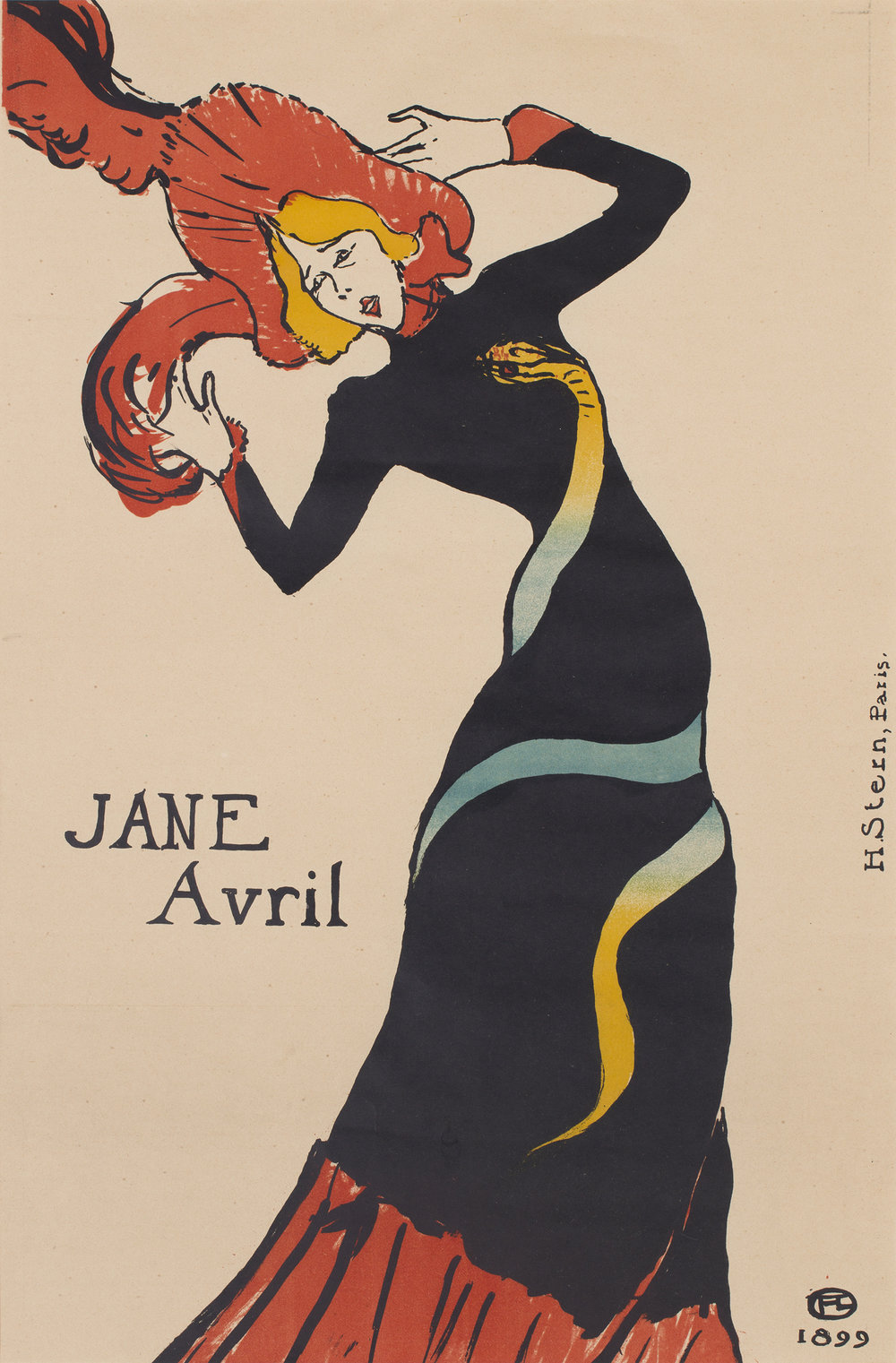 Henri de Toulouse-Lautrec, Jane Avril, 1899, Litograph in colours, 55,4 x 37,1 cm