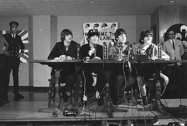 The Beatles' press conference at the Metropolitan Stadium in Minnesota in 1965.