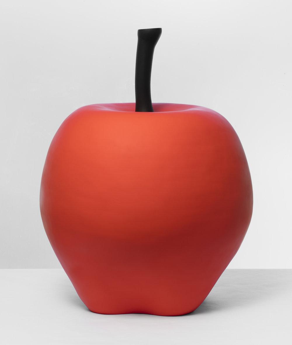 Math Bass   Apple  2017 Painted ceramic on wood 73,5 x 61 x 61 cm