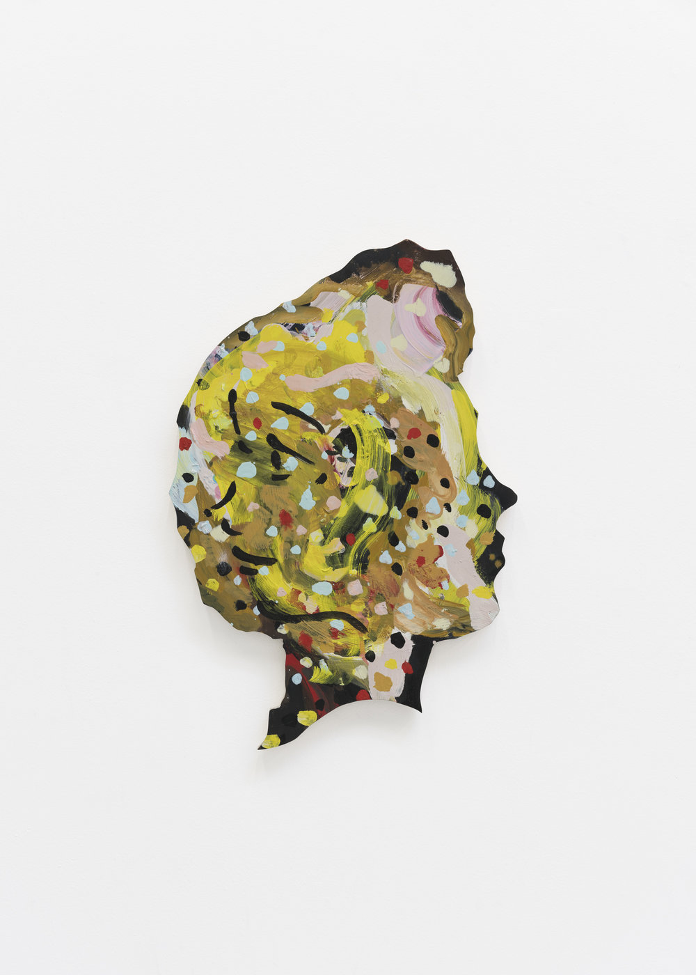 Becky Kolsrud   Double Portrait (Profile Dots)  2018 Oil on wood 61 x 38 cm