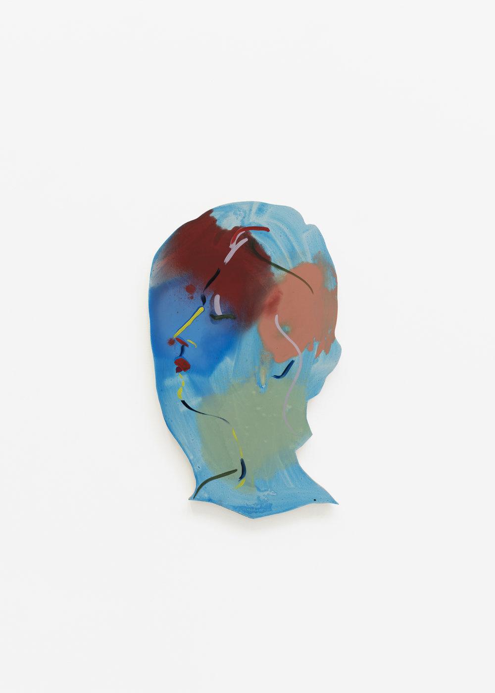 Becky Kolsrud   Double Portrait (blue one on left)  2018 Oil on wood 61,5 x 37 cm