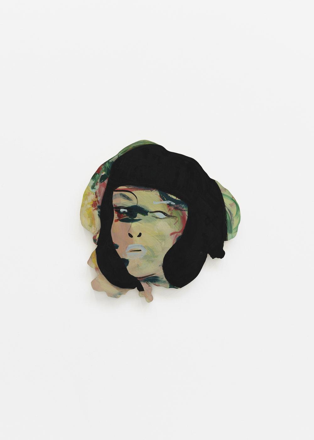 Becky Kolsrud   Double Portrait (black hair)  2018 Oil on wood 47,5 x 47,5 cm