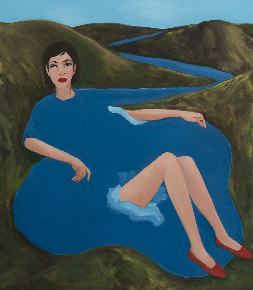Becky Kolsrud   Bather with Red Shoes  2018 Oil on Canvas 152,5 x 133,5 cm