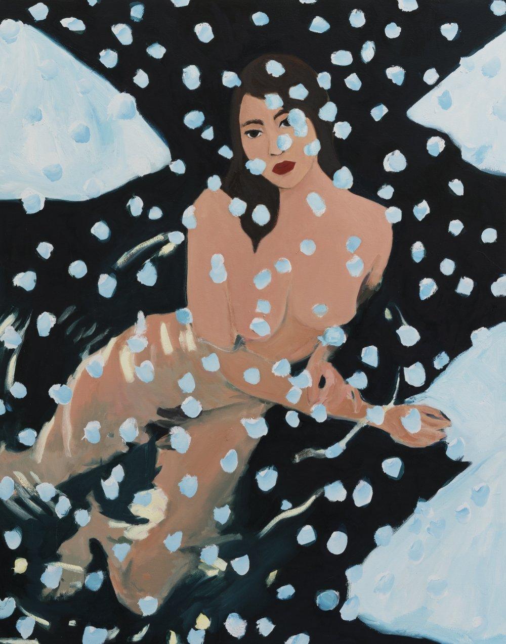 Becky Kolsrud   Nude in Snow  2018 Oil on Canvas 142 x 112 cm