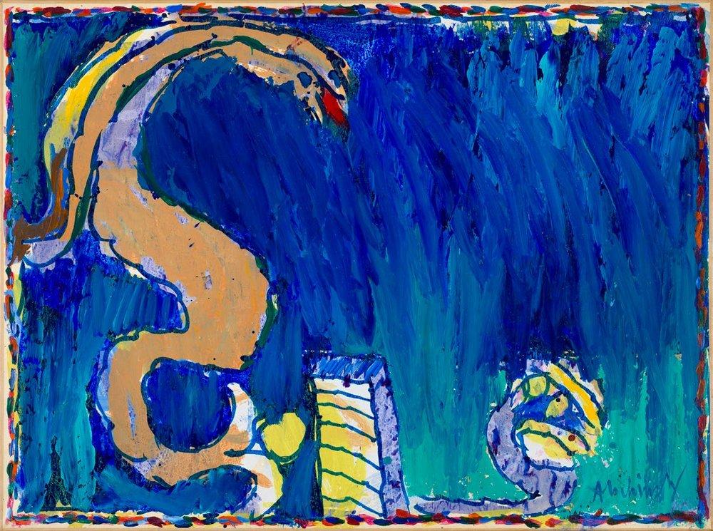 Pierre Alechinsky,Pour Nanna,1973, akryl på papper uppklistrad på duk,114 x 154 cm.