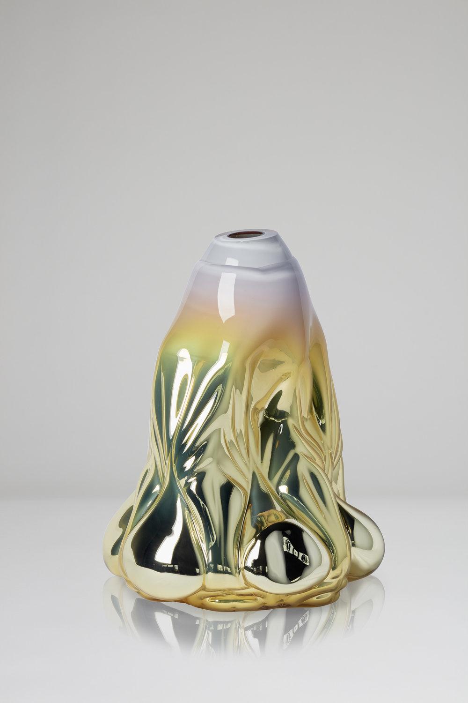 Dripping Print, soft yellow metallic  2018, Boda Glasbruk Shape-blown glass, mirror foiled 50 cm x 37 cm Edition 1 + 2 AP