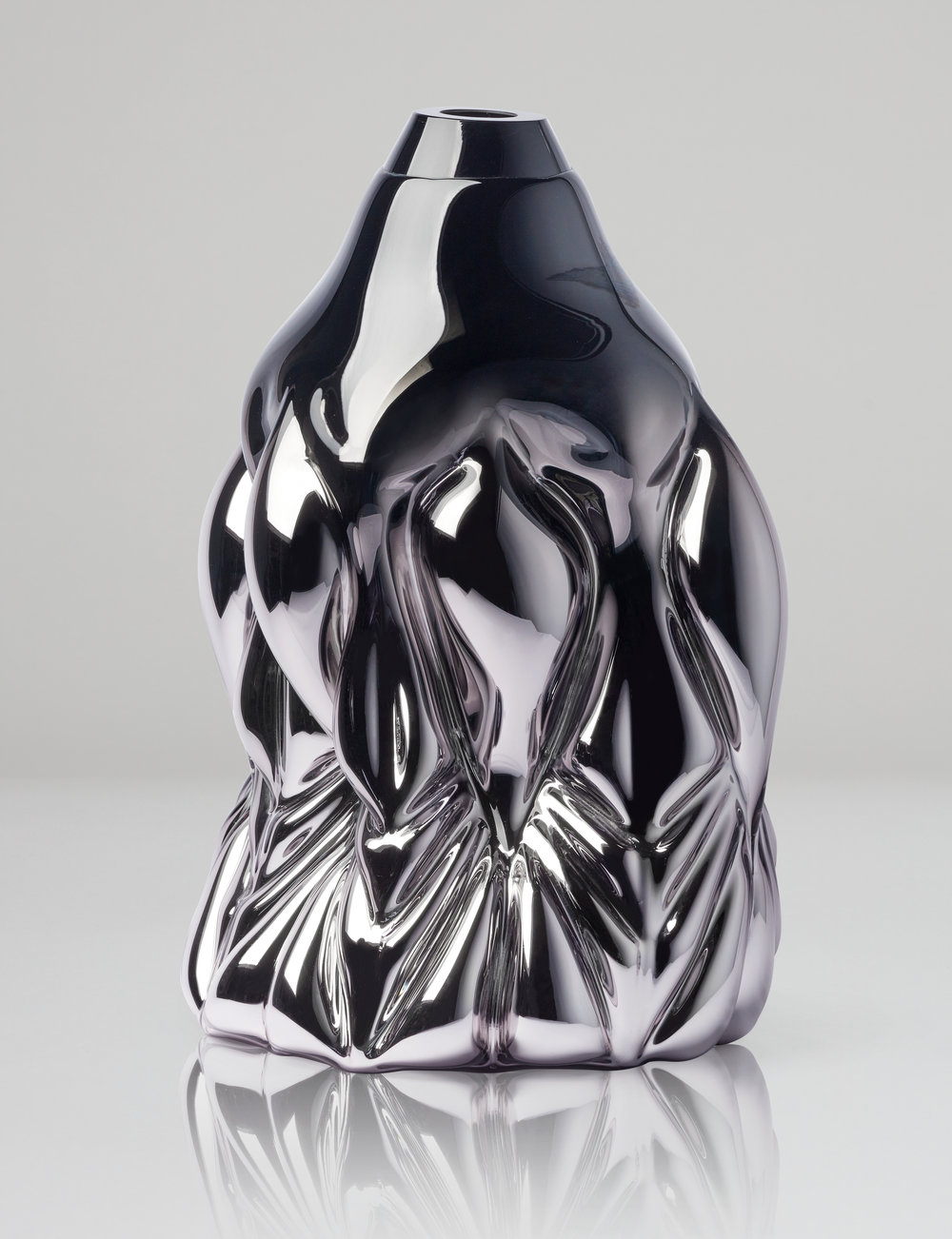 Goldfish Print, black metallic.  2018 Boda Glasbruk. Shape-blown glass, mirror foiled. 48 cm x 32 cm. Edition 1 + 2 AP