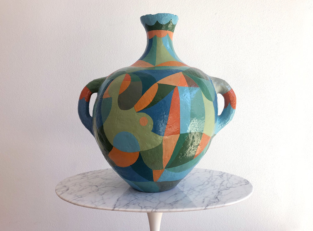 "Liselotte Watkins   Bella  2017 Painted Terracotta 50 x 50 cm  ""I love simple and beautiful things. Liselotte Watkins, a formerly genious fashion illustrator, has found ceramic vases at markets in Rome and just give in to the archaic beauty of the old shapes. With her inventive and decorative pattern, she's made them totally hers, but also she pays a tribute to all the women that once created the urns and used them in the household.""   Available"