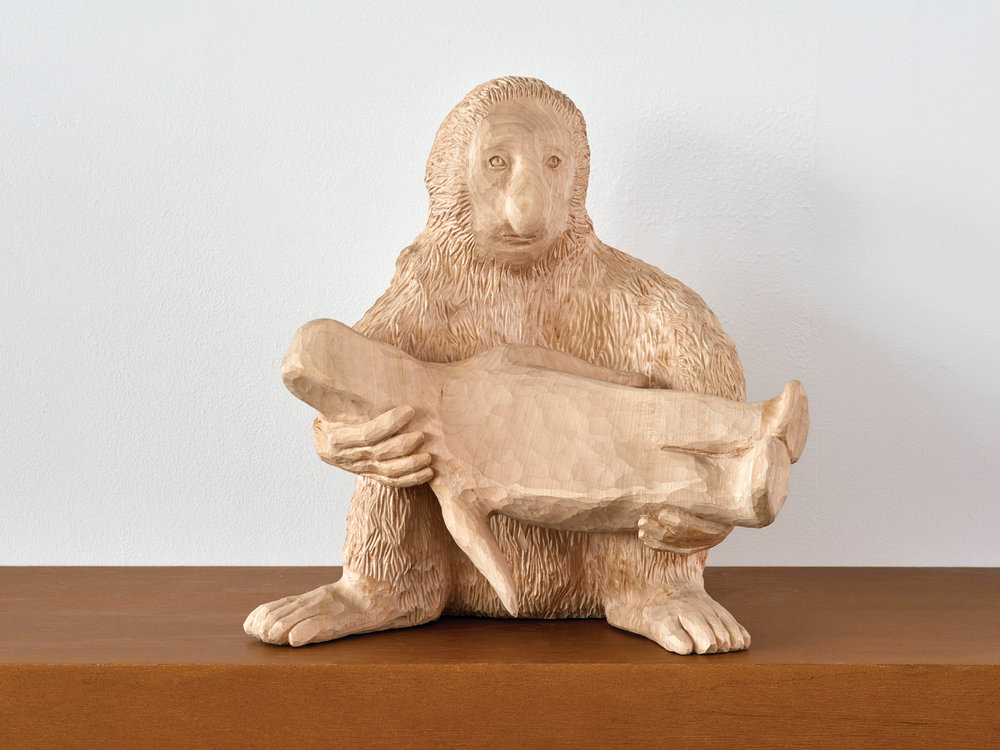 """Paloma Varga Weisz   Nose Monkey  2016 Limewood Edition of 3 46 x 40 x 40 cm  """"Okay, so I'm obviously fond of animals. Or rather, I identify myself with them in a peculiar way. Paloma is one of the acquaintances I made this year that I appreciate the most. What a spectacular sculptor! What artist today would go to an artisan school in a small town in Germany to learn woodwork? There's something magic about the touch and the surrealist aura of times past and humanity. """"   Available"""