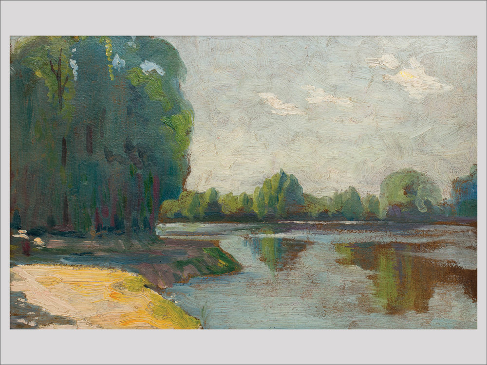 """Ivan Aguéli    Landscape  1913 Oil on paper-panel 21.5 x 33 cm  """"It's so small and yet so imposing. Ivan Aguéli (1869–1917) was a unique person in so many senses. While many of his contemporaries travelled to France to get their shoot of novelty, Aguéli took ideas extremely seriously and went further, to northern Africa, after which he learned Arabic and converted to Islam. Actually his name is Abd Al-Hadi Aqhili. A great intellect, a visionary and an oddball. This landscape is so heavy it almost falls from the wall.""""   Available"""