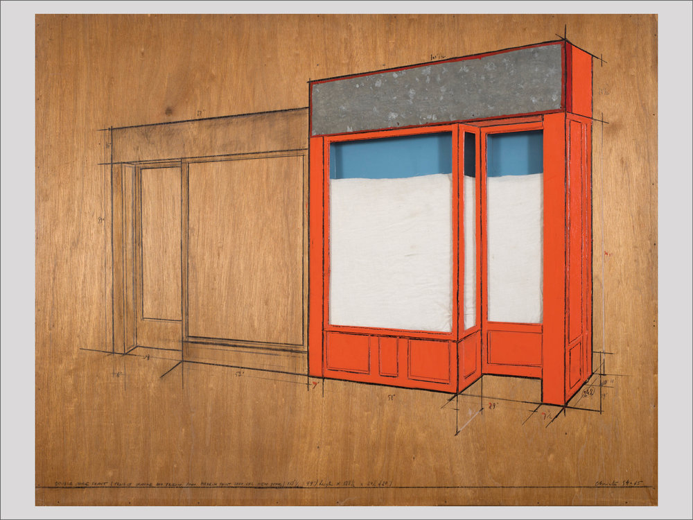 """Christo and Jeanne-Claude   Store Front, Project  1964-65 Collage (pencil, wax, crayon, wood, Masonite, enamel-paint, fabric, plexiglass, galvanized metal, cardboard and electric light) 96 x 122 x 6 cm  """"Some art collectors have difficulties with conceptual art, while I'm drawn to those artists. One artist who bridges over the object and the idea in a fantastic way is Christo. He works with a limited number of themes that he repeats and varies. This Storefront from 1965 is a gem. For me, it embodies the soul and zeitgeist of post-war New York and the beginning of the golden commercial era of the Big Apple.""""   Available"""