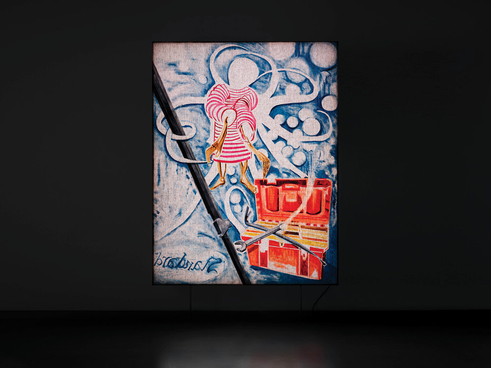 """Ulf Rollof   Cinema Painting Pink Pirate  2017 Oil on linen canvas. LED light box with aluminium box 207 x 157 x 10 cm  """"He is one of the bravest artists I know. This was obviously proven at his recent Moderna Museet exhibition in Malmö. He has a way of showing that art is urgent and literally lifesaving. His sculptures from the 90s are shaking, almost shocking. This one shows another side, the playful and joyous that denounces death.""""   Available"""