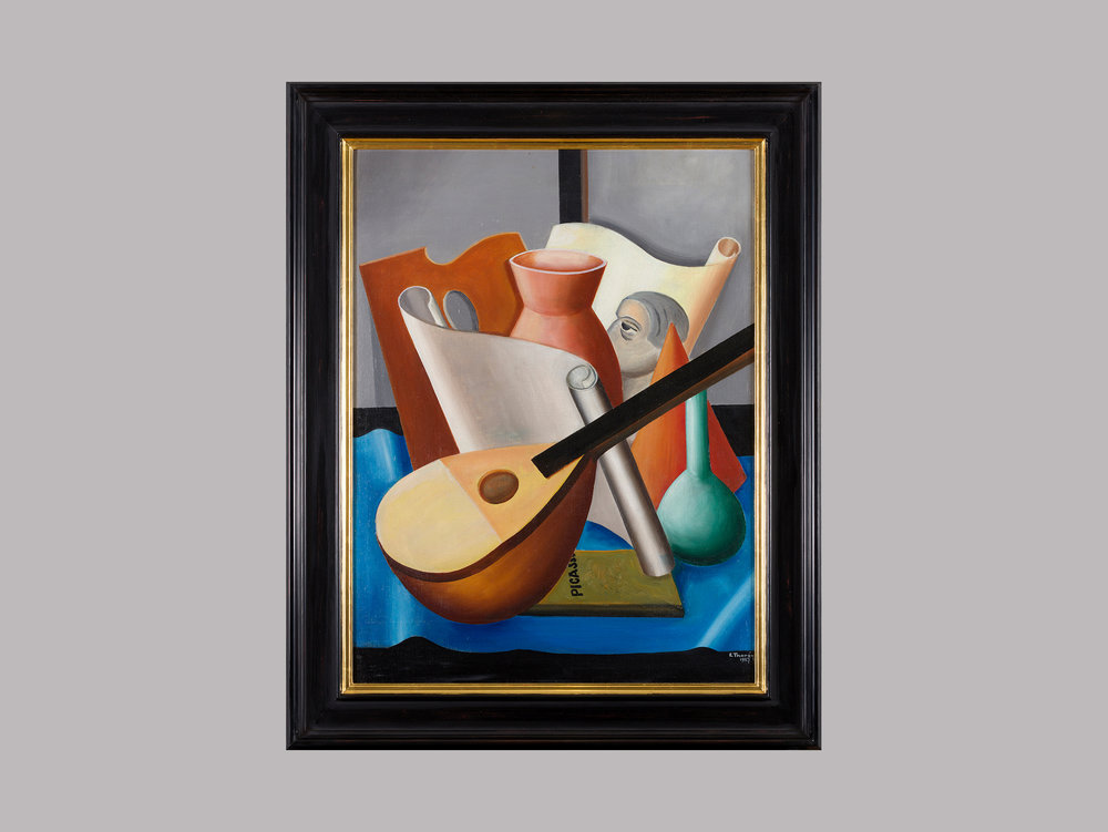 "Esaias Thorén   ""Still life with mandolin and Picasso book"",  1927 Oil on canvas 66 x 50 cm  ""Swedish High Modernism is kind of my kingdom. Throughout my years in the world of auctions I have come to love them passionately. There's a unique charm in those brave Swedes who wanted something else, something revolutionary and daring. This painting shows the deeply gifted Esaias Thorén's interest in cubism and he's even pointing out the path finder: Picasso. Two years later he, together with five other artists, formed the surrealist group Halmstadgruppen. In my opinion, the twenties are vibrant years in Swedish art."""