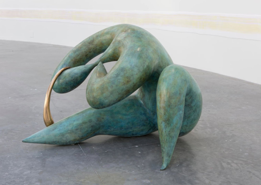 Camille Henrot  (Art Basel), American artist born 1978. On everybody's mind the last couple of years. Drawings, sculpture, installations, videos. Henrot's work reflects her interest in philosophy, literature, and anthropology.  This sculpture is a new sensual side of her work.