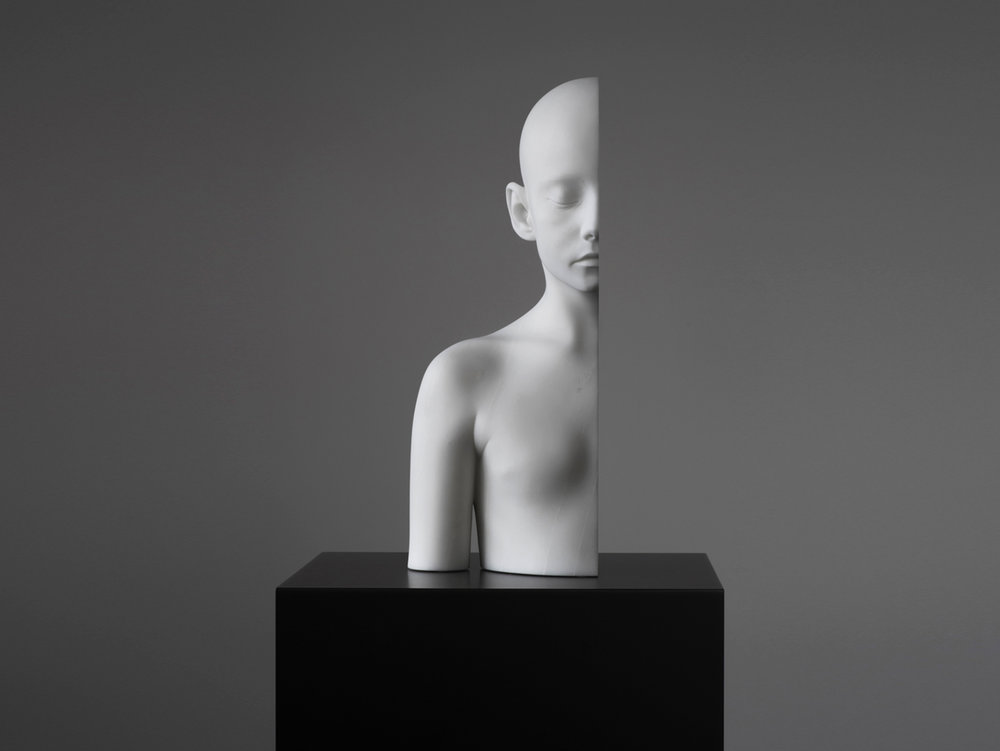 "Anders Krisár   Half Girl (right) , 2018 Marble 47 x 23 x 18,2 cm Edition of 3 + 2 AP  ""It's fascinating how his sculptures evoke feelings. Strong existential emotions. The bodies refer to the most classical masterpieces of the Hellenic era. Krisár adds the Cut, which in this context, signifies separation. While the Greek ideal is about human sovereignty, his works deal with the idea of dependence."""
