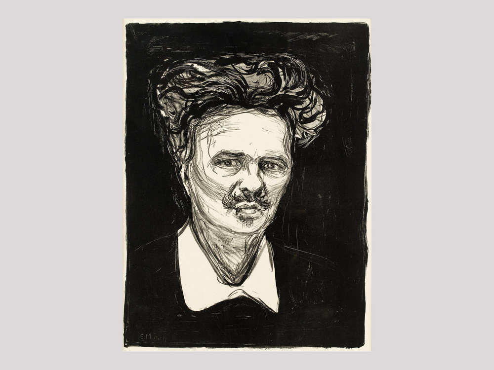 """Edvard Munch   August Strindberg  1896 Lithograph 50,7 x 37,6 cm Signed and with a dedication from Munch to Frau Förster-Nietzsche  Available   """"Edvard Munch (1863-1944) is truly one of the greatest printmakers of the 20th century. His dramatic and strong images from the 1890s and early 1900s are among the most enigmatic and dramatic prints ever created. The portrait of Strindberg (1849-1912) is similar in composition to Munch's self-portrait from 1895, with a strong contrast between the black background and the heavily illuminated face. The two met in Paris in 1895 or 1896, shortly after Strindberg left his second wife, the Austrian actress Frieda Uhl. The lithograph was printed in 1896 in Paris. This particular print once belonging to philosopher Friedrich Nietzsche's sister, Elisabeth Förster-Nietzsche (1846-1935), who played a major role in establishing the Nietzsche cult at the time, being the sole heir to her brother and the founder of the Nietzsche Archive. So, in this way, three of the great minds of that time are all captured in this work: Munch-Strindberg-Nietzsche."""""""