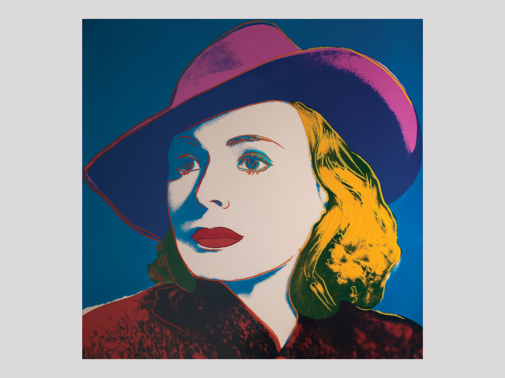 """Andy Warhol   Ingrid Bergman with hat  1983 Silkscreen in colours 91,4 x 91,4 cm Edition of 250 + 50 AP  Available   """"The famous Swedish Hollywood star Ingrid Bergman passed away in 1982, and shortly thereafter, Per Olov Börjeson, the founder of Galleri Börjesson in Malmö, contacted Andy Warhol to discuss the possibility of commemorating her legacy with a print. The result was the triptych  Ingrid Bergman , which includes three different portraits of her ( Herself, the Nun, with Hat ) and was published in 1983. The set was sold complete or as individual prints. The most popular of the three portraits, all chosen from her major film roles, was  Ingrid Bergman with Hat . It is the visually most striking of the portraits, and the photo depicts her in her role as Ilsa Lund in  Casablanca  (1942), in which she starred against Humphrey Bogart."""""""