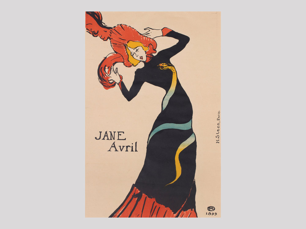 """Henri de Toulouse-Lautrec   Jane Avril  1899 Lithograph in colours 55,4 x 37,1 cm  Available   """"The Moulin Rouge Cabaret is surrounded by a haze of timeless glamour, a place representing the turning point and transition between the ancient and the modern. Two of the individuals who made great contributions to the era were artist Henri de Toulouse-Lautrec (1864-1901) and dancer and entertainer Jane Avril (1868-1943). In Toulouse-Lautrec's lithograph from 1899, which was commissioned by Avril personally, we see her at the peak of her spectacular career. She was 37, and despite the bare-boned simplicity of the drawing, it is plain she is no longer a young woman. The dress grabs the viewer's attention immediately with its design depicting a snake wound around her body, its tongue flicking its way up towards her throat. Designing her own stage outfits was a conscious strategy she used to make herself more than just a captivating dancer, as was letting herself being portrayed by Toulouse-Lautrec, the master of the line: a way to make herself and her name known to a larger audience."""""""