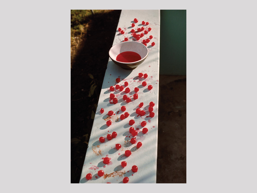 "Linda McCartney   Cherries, Antigua  1970 C-print 59,2 x 39,4 / 150,5 x 100,2 / 181,6 x 121 cm Edition of 6 + 2 AP  Available   ""The ongoing exhibition  Mother Daughter , which features photos by Mary and Linda McCartney, is currently being shown at Fotografiska in Stockholm. One of my many favourites from this show is this iconic image of lined-up cherries and a bowl. It was taken by Linda McCartney (1941-1998) in Antigua. It is certainly most familiar to Paul McCartney fans as the cover image used for his first solo album  McCartney , which was released after The Beatles split up in April 1970. It is also, for obvious reasons, referred to as the ""Cherry Album"". To me, in a way, it resembles a classical still-life–a memento mori, with the red berries spread out and the empty bowl–but it also gives a taste of summer and holidays!"""
