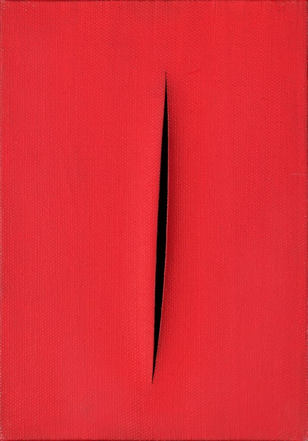 Lucio Fontana   Concetto Spaziale, Attese  1960 Akvarell på duk 27 x 19 cm