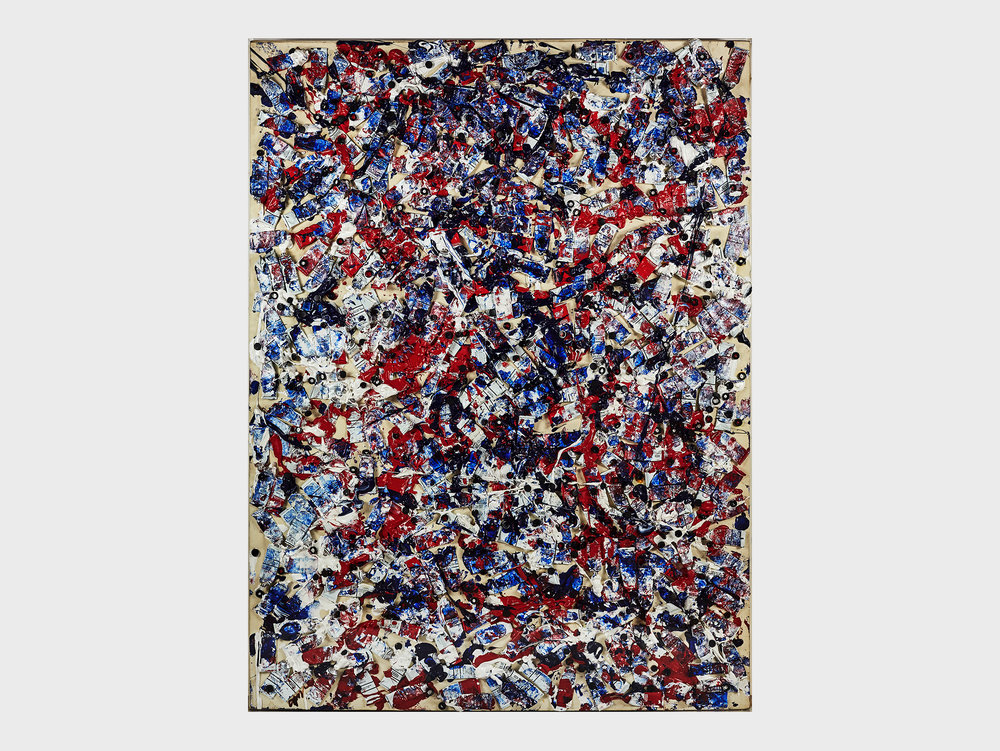 """Arman   La révolution sén dich du bon goüt , 1989 Oil, tubes and mixed media on canvas 182 × 138 cm Private collection, Sweden  """"A Tricolour of Tubes:I have very fond memories of when this was sold from our gallery two years ago. It's a celebration of his native France, and a commemoration of the French Revolution in 1789. The reds and blues form an untamed cluster along with the white tubes. Is it an image of the turbulent history of the country? We mustn't forget that Arman's art incorporates a great deal of warmth and humour."""""""