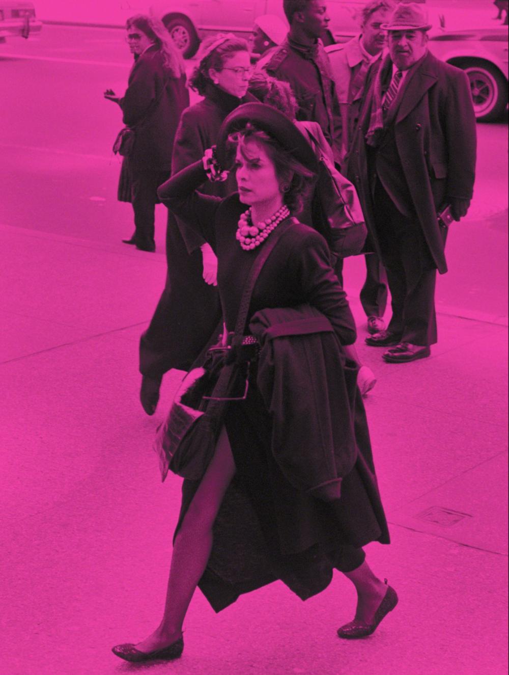 Christophe Von Hohenberg   Andy Warhol Memorial, 1987: Bianca Jagger Arriving  Digital Print on Archival Hahnemühle Paper 55.9 × 43.2 cm
