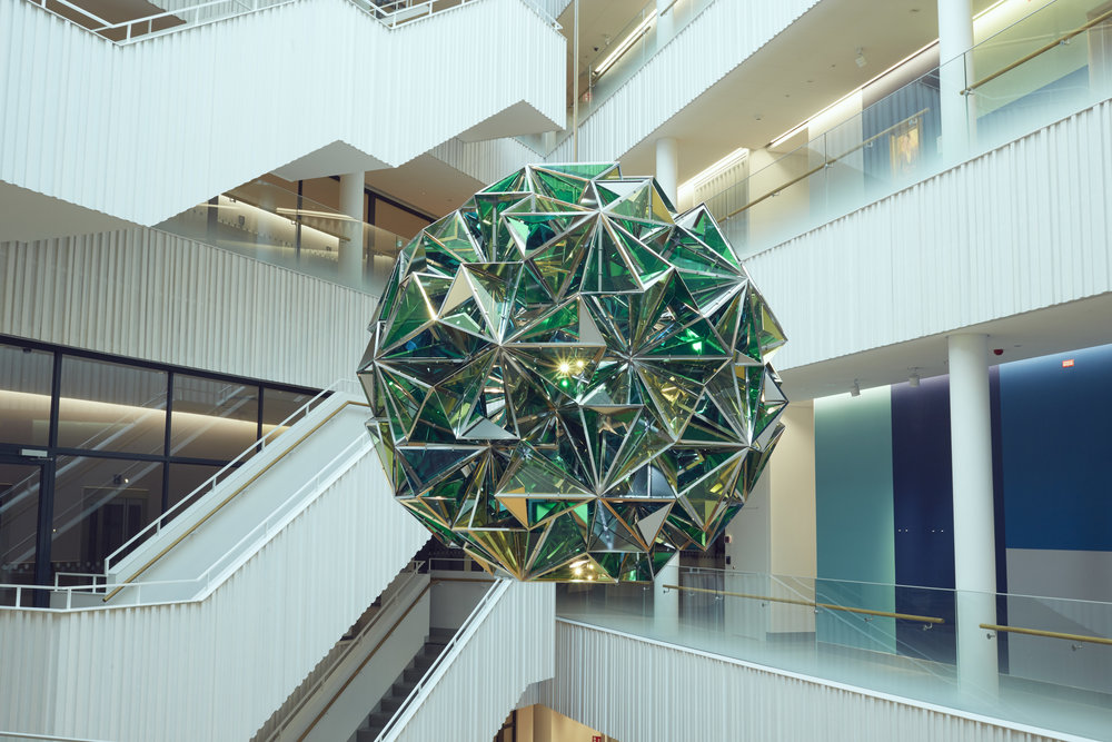 Olafur Eliasson ,  Power Sharing Planet , 2017  It was amazing to see Olafur Eliasson at the opening! He must be one of the busiest artists in the world. The studio he shares with Ai Weiwei in Berlin occupies an entire city block. The geometry of the modules that make up this polyhedron was co-designed by the artist's collaboration partner, Icelandic mathematician Einar Thorsteinn.