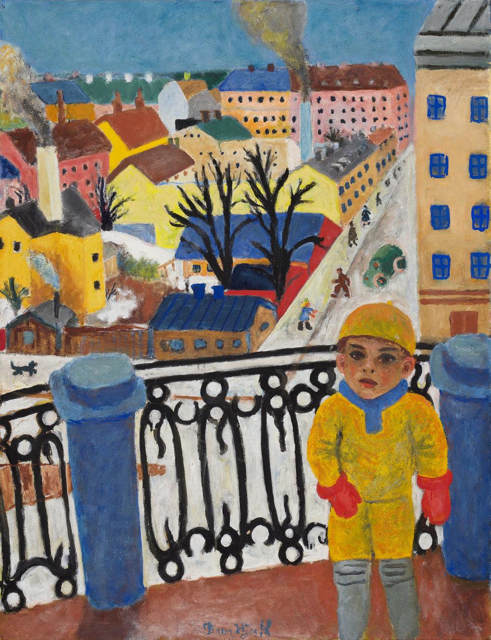 Bror Hjorth   Utsikt över Skånegatan – Olle på balkongen  1932 Oil on canvas 116 x 89 cm