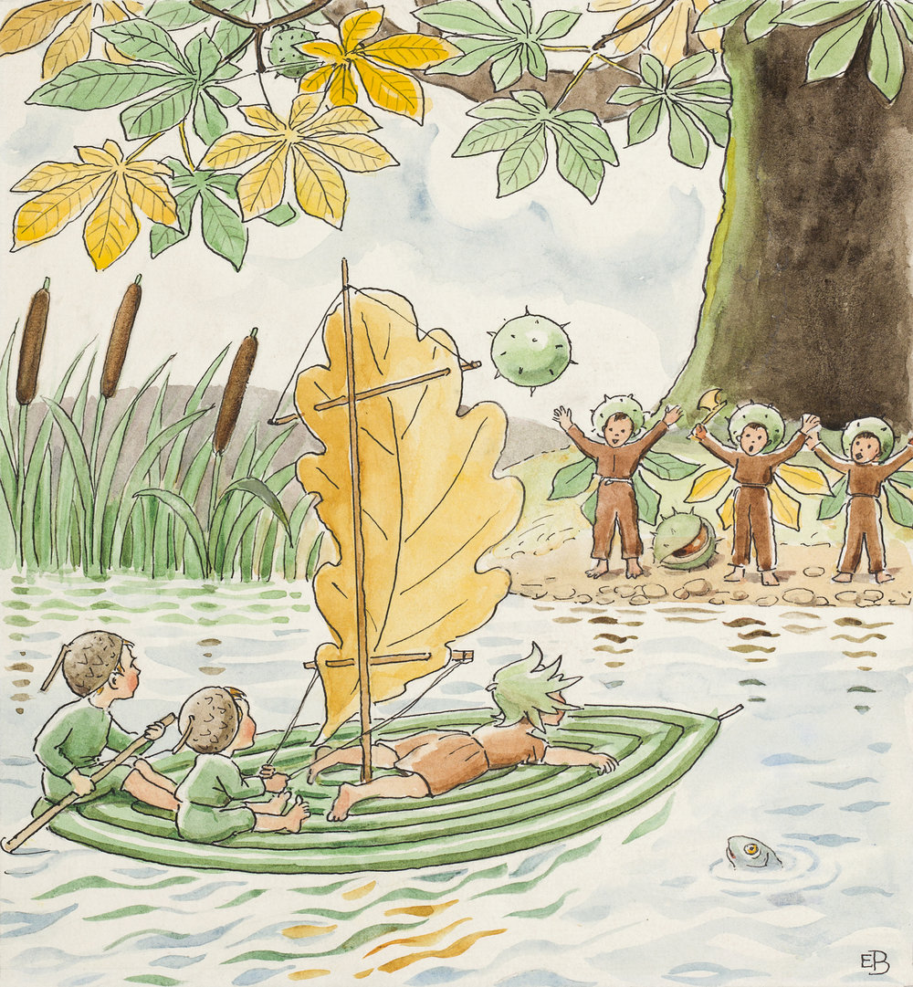 Elsa Beskow   Ocke, Nutta och Pillerill  1939 17 original illustrations, watercolor Cirka 20 x 18 cm each