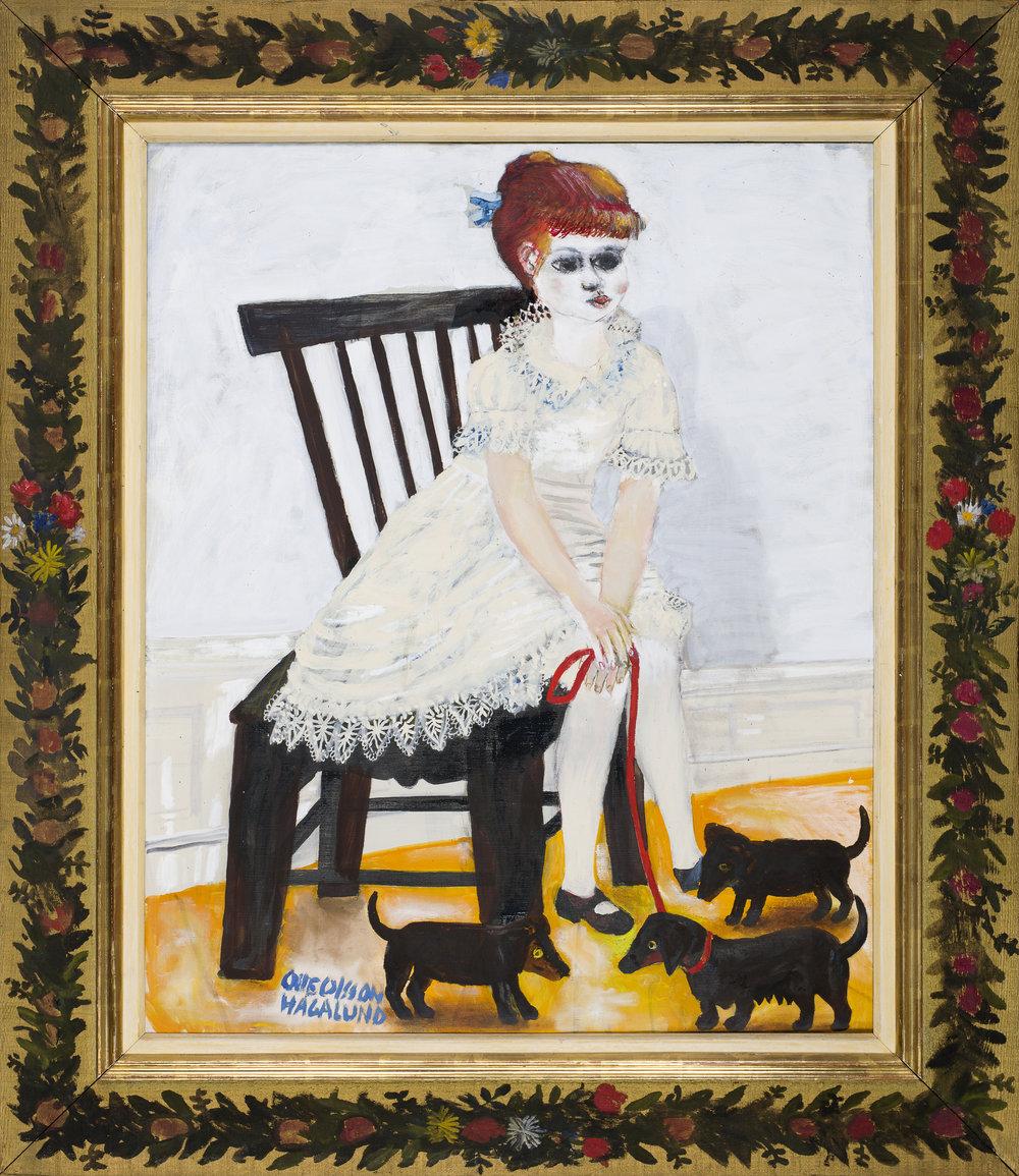 Olle Olsson Hagalund   Flicka med hundvalpar ('Girl with puppies')  1960s Oil on canvas 92 x 73 cm